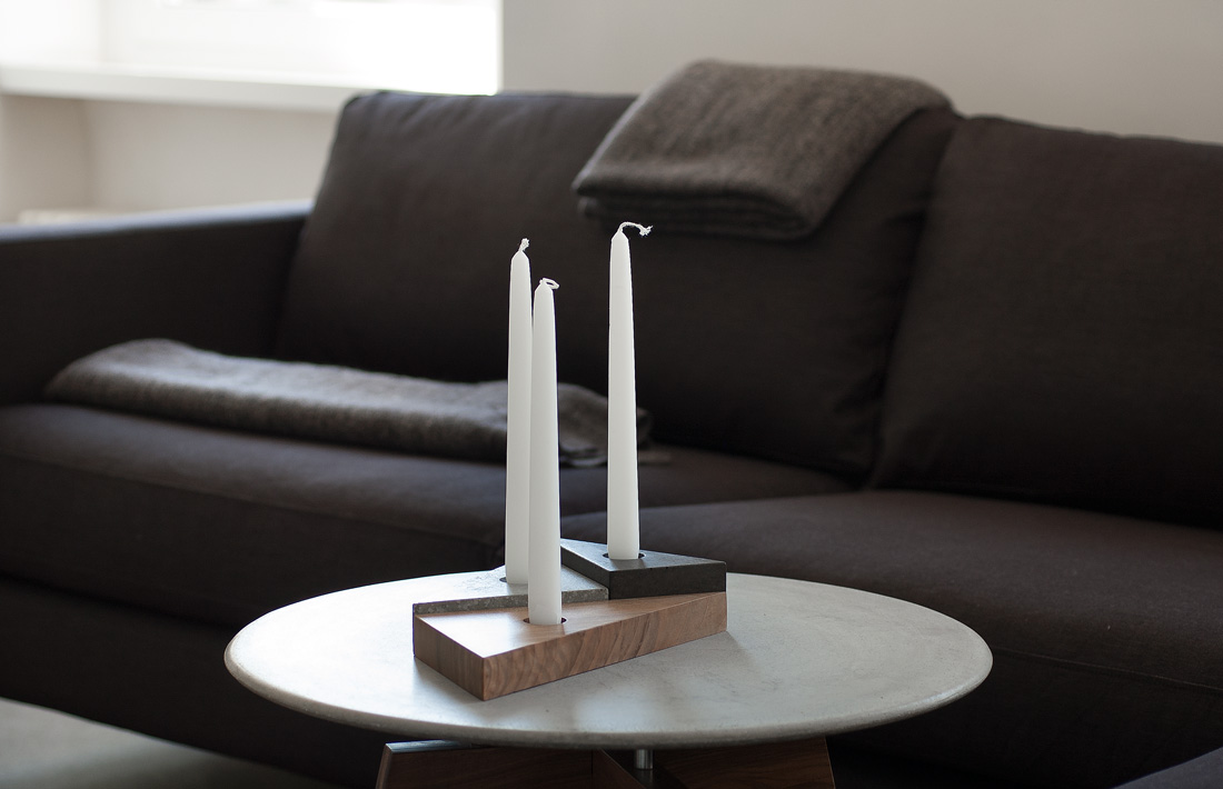 Efèsto candle holder portacandele legno cemento wood concrete pastina italian goodies collection