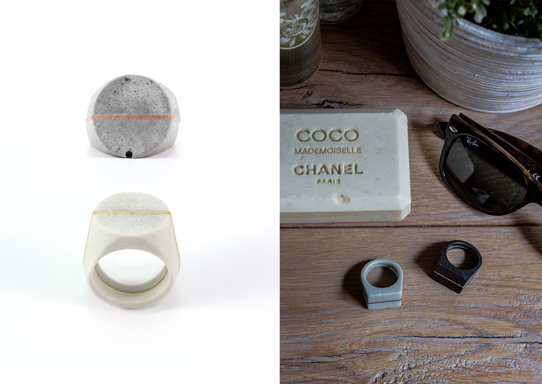 Solid Collection rings concrete anelli cemento argento studio pastina per Colla Fine Concrete Jewelry