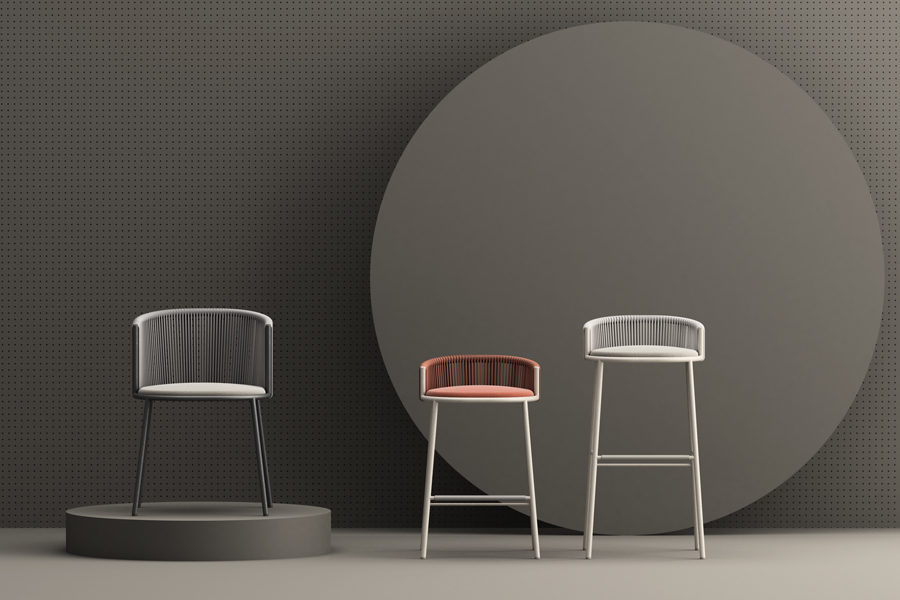 Millie outdoor collection chair and stool designed by Studio Pastina for Chairs & More